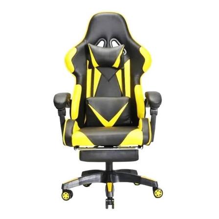 Silla RaztecShop gamer ergonómica  negra y amarilla con tapizado de cuero sintético