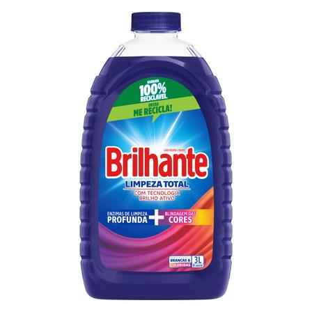 Sabão líquido Brilhante Limpeza Total Roupas Brancas e Coloridas galão 3L