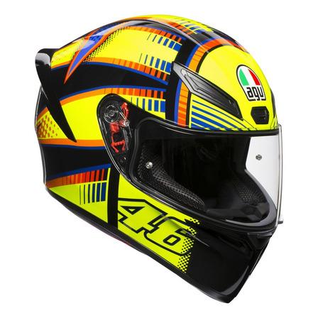Casco para moto integral AGV K-1 Soleluna 2015 black, yellow talle ML