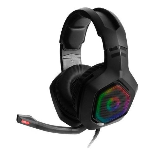 Audífonos gamer Nibio Infinity negro con luz  rgb LED