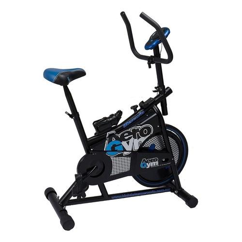 Bicicleta fija Mercurio Aerogym para spinning negra y azul