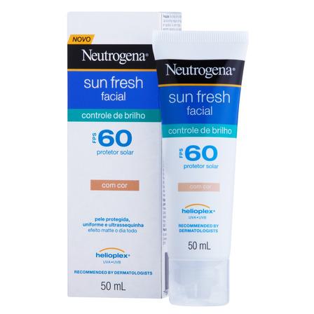 Protetor solar Neutrogena Sun Fresh Facial Controle de Brilho com cor  FPS60 50ml