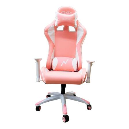 Silla de escritorio Noga Stratos gamer ergonómica  rosa y blanca con tapizado de cuero sintético