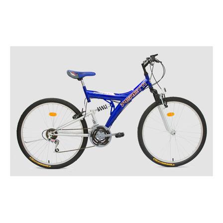 Mountain bike Peretti MTB doble suspensión R26 21v frenos v-brakes color azul