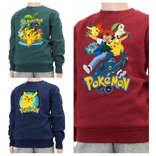 Buzo Algodón Felpa Pokemon Pikachu Excelente Cálidad