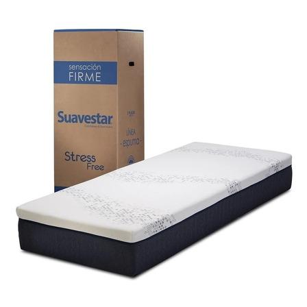 Colchón 1 plaza de espuma Suavestar Stress Free - 80cm x 190cm x 25cm
