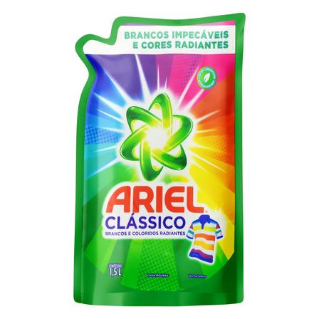 Sabão líquido Ariel Clássico Roupas Brancas e Coloridas sachê 1.5L