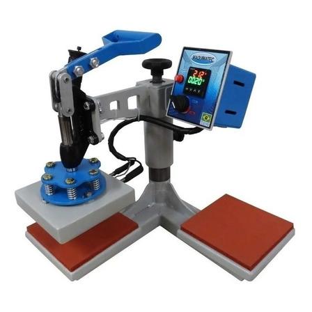 Prensa sublimadora e transfer manual Maquinatec 15x15 Dos Bandejas cinza e azul 220V