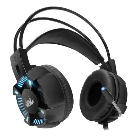 Fone de ouvido gamer Knup KP-464 preto com luz LED