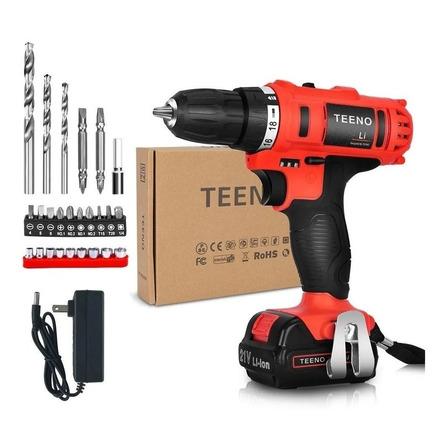 Taladro eléctrico  destornillador Teeno 5861-1 inalámbrico 1500rpm 50Hz/60Hz rojo 100V/240V 21V