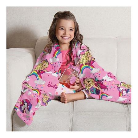 Cobertor Lepper Fleece de sofá Solteiro rosa Barbie reinos mágicos