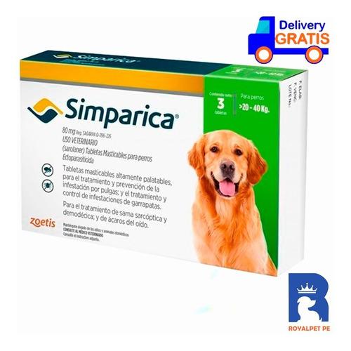 Antipulgas Antigarrapas Simparica 20-40 Kg Caja X3 Original