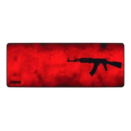 Mouse Pad gamer Rise Mode Gaming AK47 de fibra e borracha extended 300mm x 900mm x 3mm vermelho/preto