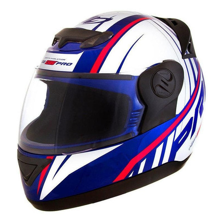 Capacete para moto integral Pro Tork Evolution G6 Pro Color branco e azul tamanho 58