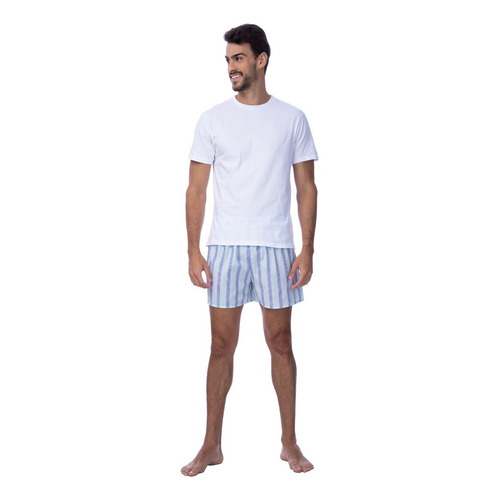 Conjunto Pijama Camiseta + Samba Canção Listrada D'uomo