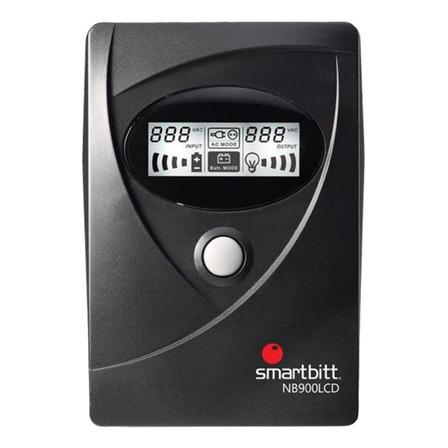 UPS regulador de voltaje Smartbitt Smart Interactive SBNB900LCD 900VA entrada y salida de 120V CA negro