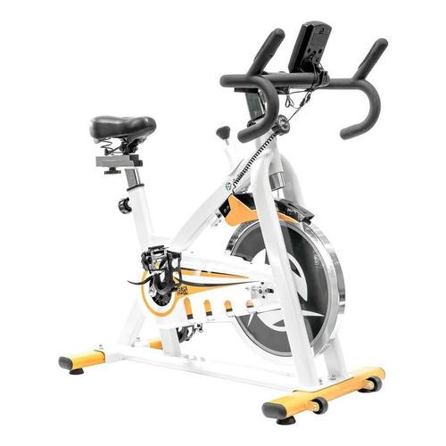 Bicicleta fija Altera Spal ALT58800-18 para spinning blanca y amarilla