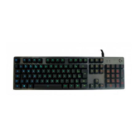 Teclado gamer Logitech G512 QWERTY GX Brown Tactile português brasil cor carvão com luz RGB