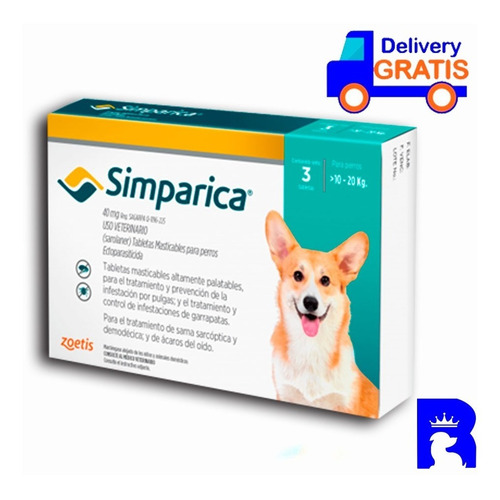 Antipulgas Antigarrapas Simparica 10-20 Kg Caja X3 Original