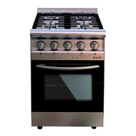 Cocina industrial Saho Jitaku 550 a gas 4 hornallas plateada/negra 220V puerta con visor