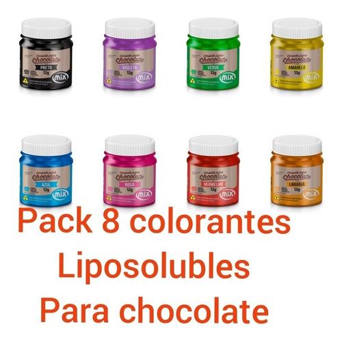 Pack 8 Colorantes Alimentarios Liposoluble Para Chocolate