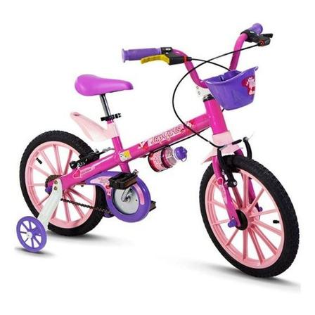 Bicicleta  infantil Nathor Top Girls aro 16 freios v-brakes cor rosa com rodas de treinamento