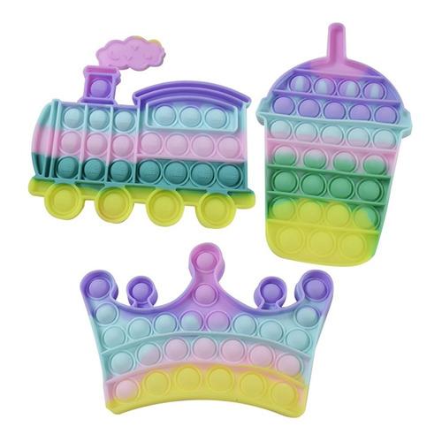Kit Pastel Juguete Burbujas Antiestrés Niños Fidget Pop It
