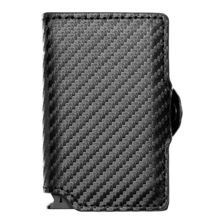 Billetera Walla Carbono Doble black cuero y fibra de carbono