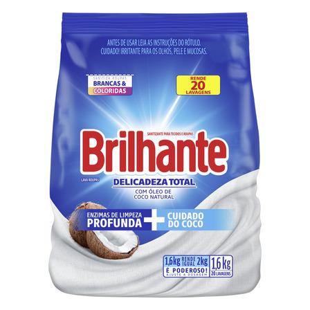 Sabão em pó Brilhante Delicadeza Total Roupas Brancas e Coloridas pacote 1.6kg