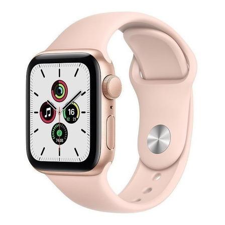 Apple Watch SE (GPS, 40mm) - Caja de aluminio color oro - Correa deportiva Rosa arena