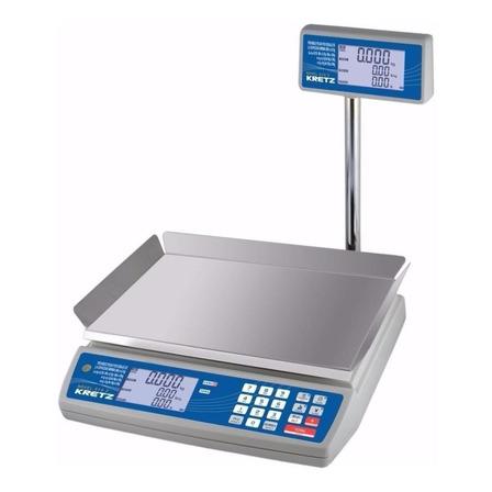 Balanza comercial digital Kretz Novel Eco 2 30kg con mástil 110V/220V blanco