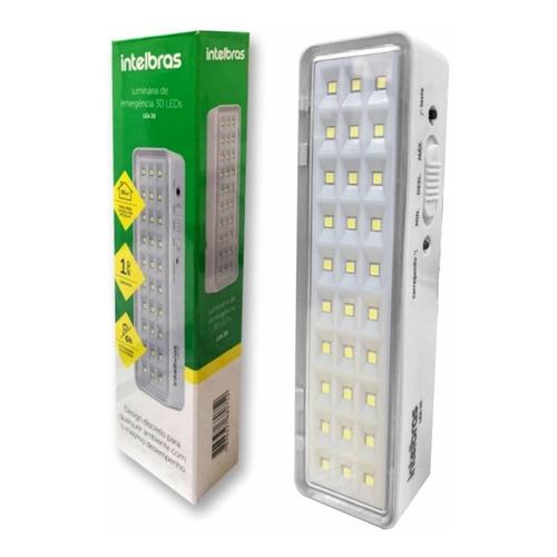 Luminária 30 Leds Intelbras Emergência 100 Lúmens Lea 30 110/220v Comercial Industrial Residencial Lanterna Luz Camping