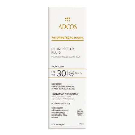 Protetor Solar Fluid FPS 30 sem Perfume Adcos Caixa 120ml