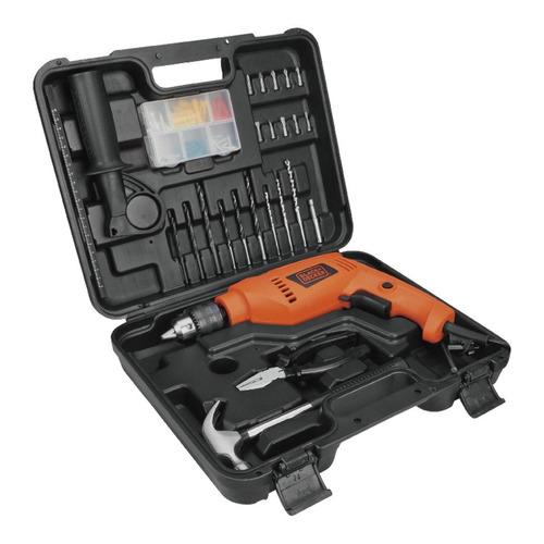 Taladro eléctrico percutor y destornillador Black+Decker HD555K88 2800rpm 50Hz 550W naranja 220V