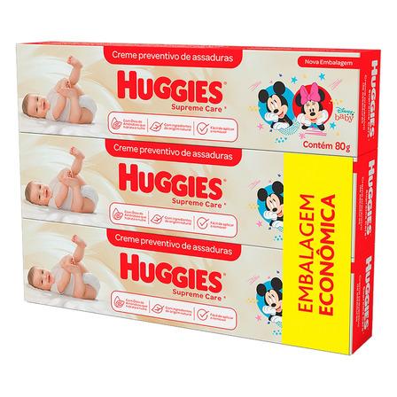 Pack Creme Preventivo de Assaduras Huggies Supreme Care Caixa 3 Unidades 80g Cada Embalagem Econômica
