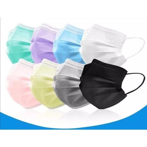 Mascarillas Desechables Colores Caja 50 Unidades - 3 Capas.