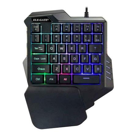 Teclado de una mano gamer Ele-Gate TC.16 color negro con luz 8 colores