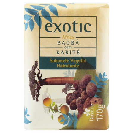 Sabão em barra Davene Vegetal África Baobá com Karité Exotic de 170 g
