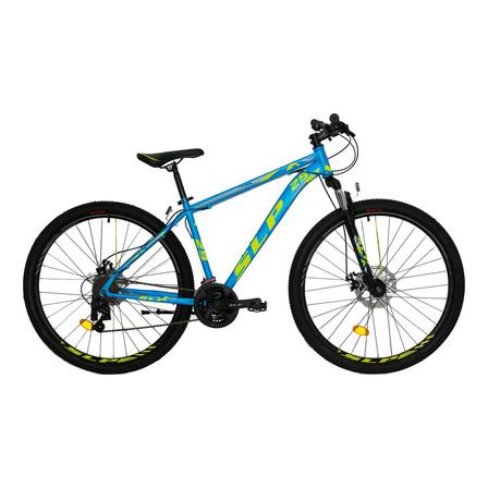 """Mountain bike SLP 5 Pro R29 18"""" 21v frenos de disco mecánico cambios SLP color celeste/amarillo con pie de apoyo"""