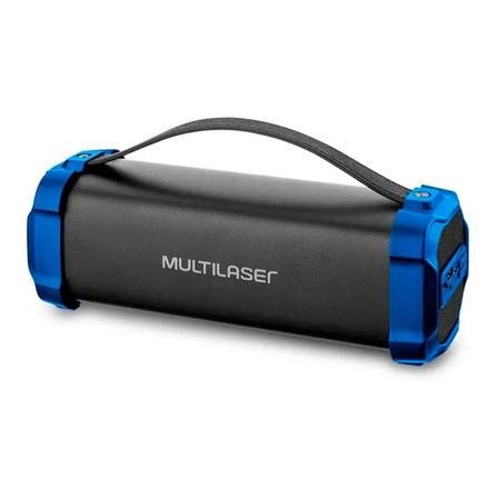 Alto-falante Multilaser Bazooka portátil com bluetooth azul e prata