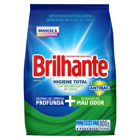 Sabão em pó Brilhante Higiene Total Roupas Brancas e Coloridas pacote 800g