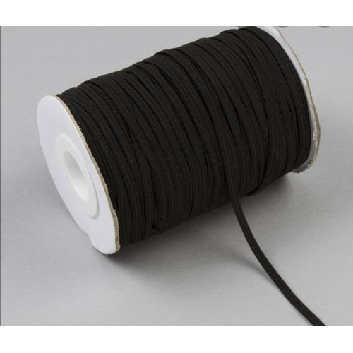 Elástico Negro 4 Mm Para Tapaboca Rollo 200 Metros