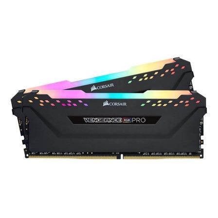 Memória RAM Vengeance RGB Pro color Preto  32GB 2x16GB Corsair CMW32GX4M2D3600C18