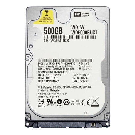 Disco rígido interno Western Digital WD AV-25 WD5000BUCT 500GB