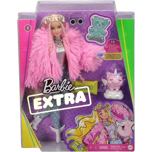 Barbie Extra Doll Con Abrigo Rosado Mascota Unicornio Mattel
