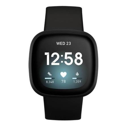 """Smartwatch Fitbit Versa 3 1.58"""" caja de  aluminio anodizado  black aluminum malla  black de  elastómero y aluminio anodizado FB511"""