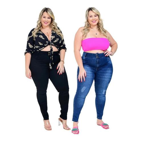 2 Calça Plus Size Feminina Jeans Cintura Alta Promoção Lycra