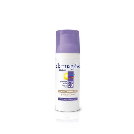 Protector solar Dermaglós FPS 50 Con Color Tono Claro para rostro crema resistente al agua FPS50 x 50g
