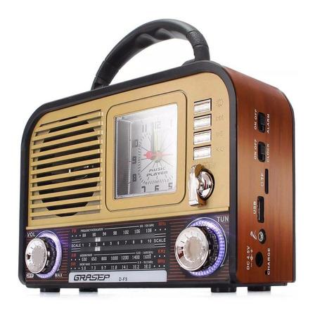Caixa de som Grasep D-F9 portátil com bluetooth  dourada 110V/220V