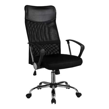 Silla de escritorio Baires4 Ejecutiva Mesh  negra con tapizado de mesh y cuero sintético